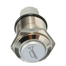 12V Momentary Push Button Metal Switch 16mm Red LED Car Boat Speakers Bell Horn