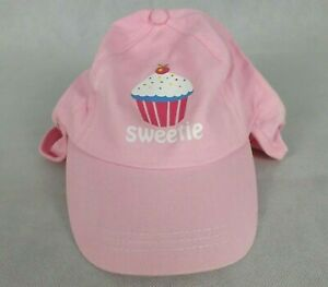 Girls Pink Hat Cap Cupcake Sweetie Print Neck Protection Brand New 0-2 yrs