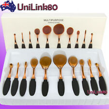 10X Beauty Makeup Brushes Set Toothbrush Shaped Oval Cream Puff Kit Rose Gold AU