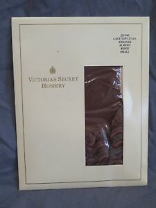 New Vintage Victoria's Secret Lace Top Thigh Hi Almost Beige Stockings Sz Small