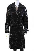 Krizia Womens Shiny Belted Double Breasted Midi Coat Black Size IT 44