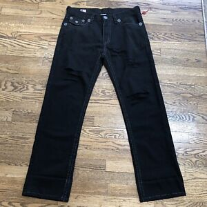 True Religion Mens Cotton Black Jeans Section Ricky Super T Seat 34 Made in USA.