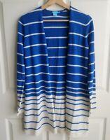 J Mclaughlin Womens Blue Striped Fathom Merino Wool Cardigan Sweater Size Small