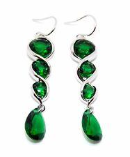 Silver Emerald 12.4ct Drop Earrings