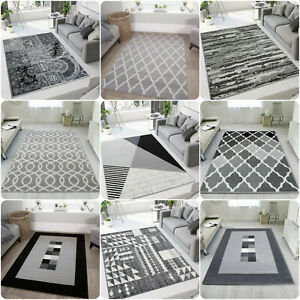 Silver Grey Living Room Rugs Cheap Small Large Geometric Rugs Long Hall Runners
