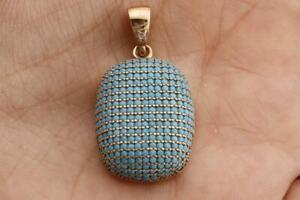 925 SILVER TURKISH JEWELRY NANO BLUE TURQUOISE PENDANT