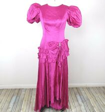 VTG 80s Womens Prom Dress Sz M/L Hot Pink Puffy Sleeves Shoulders Ruffles Bow