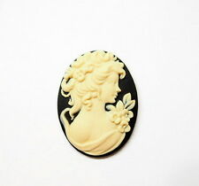 4 of 40x30 mm Cream over Black Victorian Art Deco Grecian Flowers Woman Cameos