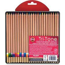 Koh-I-Noor Tri-Tone Multi-colored Pencils - KOHFA33TIN24BC