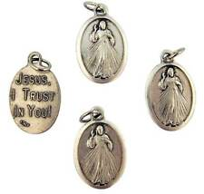 Lot Of 4 Divine Mercy Jesus Holy Medal Silver Plate Pendant Prayer Gift 3/4""