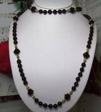 Black Onyx With 14k Gold Beaded Necklace.B008