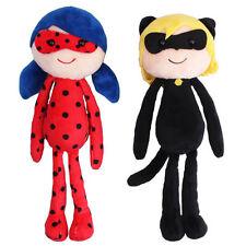 2Pieces Miraculous LadyBug Soft Plush Toy Cat Noir Adrien Marinette Stuffed Doll