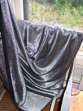 1 Yard, Pleated, Metallic Silver, Liquid Lamé Fabric