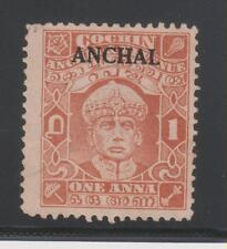 India Cochin KGVI. 1939, 1An. BROWN ORANGE SG73 UNUSED AS ISSUED STAMP.