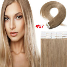 60PCS Tape-In Virgin Human Hair Extensions Weft Full Head 100% Real Remy Hair US