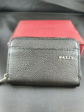 New Bally Mens Nholen Zippered Coin Wallet Black Calf Leather Embossed Italy