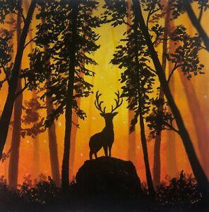 Original Acrylic Hand Painting Wild Life Animal Elk Mythical Forest Art Card