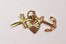 14k Yellow Gold cross/anchor/heart Symbol Pendant