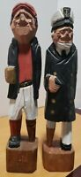 """2 Vintage Hand Carved Wooden Peg Legged Sea Captain and First Mate 12"""" Tall"""