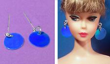 Dreamz BLUE MOD DISC 1 Pair of Earrings Barbie Silkstone OOAK Doll Jewelry