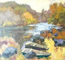 Boats Autumn Plain air realism Original oil landscape on canvas by E. Lozovoy