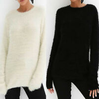 Women Casual Plush Solid Loose Crew Neck Sweater Long Sleeve Blouse Tops T-Shirt