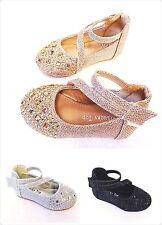 Girls Baby Toddler Rhinestone Ballet Ballerina Wedding Flats Dress Shoe Line-62A
