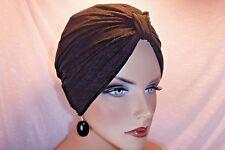 "Black Crinkle Soft Poly Knit Chemo Turban ""Something4you""  Hat Alopecia Hijab"