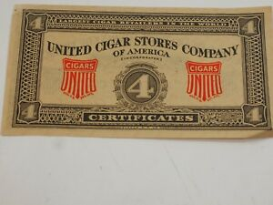 United Cigar Stores Company Of America Four Certificates