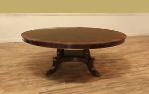 Large 84 Inch Round Mahogany Dining Table Traditional Pedestal
