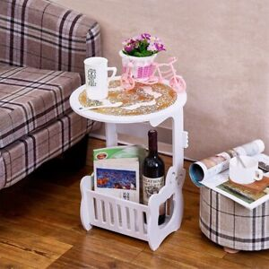 Vintage Coffee Table Storage Rack Home Living Room Bedside Small White Plastic