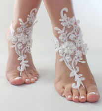Beach Anklet Jewelry Wedding Shoe Lace Wedding Foot Chain Ivory Barefoot Sandals