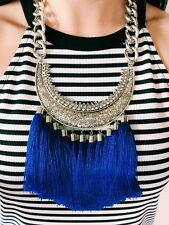Womens Statement Necklace Handmade Blue Tribal Engraved  Bib Collar Tassel