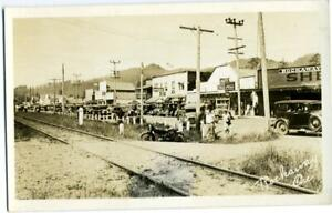 Early Stores, Businesses, Auto's, Railroad Tracks ~ROCKAWAY OREGON~ RPPC, c 1925
