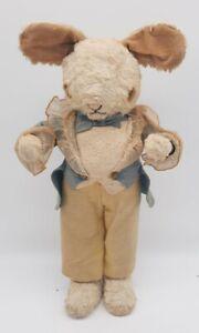 "Antique 1930s-40s Stuffed Plush Bunny Rabbit Felt Tuxedo 19"" Tall Gund ?"