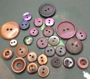 27 Unique Purple and Brown Vintage 2 hole Sewing Buttons and Bobbles Collection