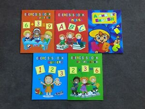 5 x Kids Activity Books Practice Exercise Books Writing Alphabet Maths Learning