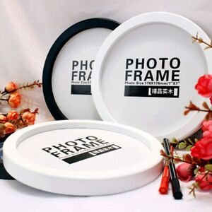 "Round Photo Frames Wall Mounted Wooden Hanging Picture Holders Home Decor 7""-12"""