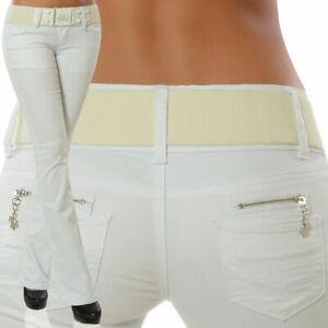 Damen Bootcut Jeans Hose Hüftjeans Hüfthose Schlaghose Denim Stretch inkl Gürtel