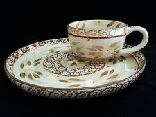 2 Pc Temp-Tations by Tara Old World Brown Large Chilli Soup Bowl & Round Plate