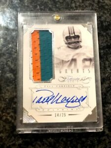2014 Panini Flawless Paul Warfield Greats Patch Auto /25 Miami Dolphins 3 Color