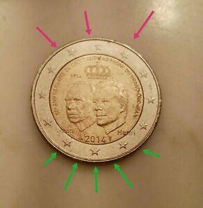 Moneta NC 2 Eur LUSSEMBURGO Commemorativa JEAN defect LETZEBUERG 50° anniversary
