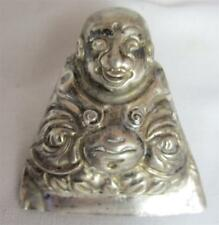ANTIQUE CHINESE SILVER REPOUSSE IMMORTAL SITTING  HAT TALISMAN/ ORNAMENT