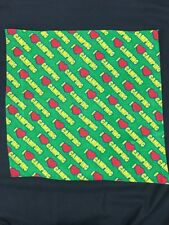 Vintage Scarf Bandana Handkerchief I Love Heart Camping Green Yellow Red Scouts