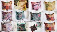 Indian Handmade Home Decor Floor Pillow Vintage Patchwork Cushion Cover 40x40cms