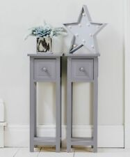 2 x Grey Bedside Cabinet Lamp Table Nightstand Drawer Shelves Storage Furniture