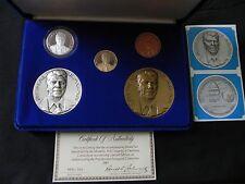 1981 Official 5 Piece-Ronald Reagan Inaugural Gold-Silver-Bronze  Medal Set Rare