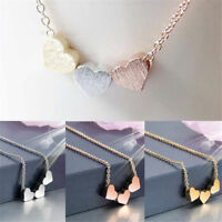 Stainless steel Women Jewelry three Heart Charms Necklace Pendant Rose Gold hOT