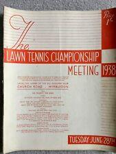 WIMBLEDON TENNIS PROGRAMME Tuesday June 28th 1938