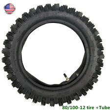 3.00-12 80/100-12 Rear Tire + Tube CRF70 PW80 KLX110 SDG SSR Dirt Bike Offroad